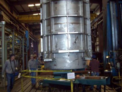 Seismic Restraint Cask setup for Machining