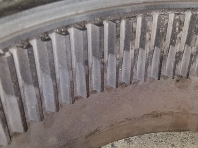 Gearbox gears showing uneven wear