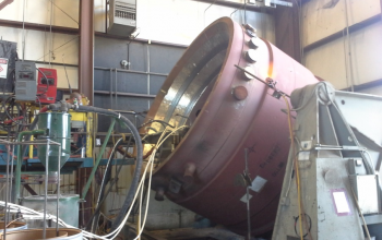MP2500 Crusher bowl weld repair Sciaky tilting on rotating positioner